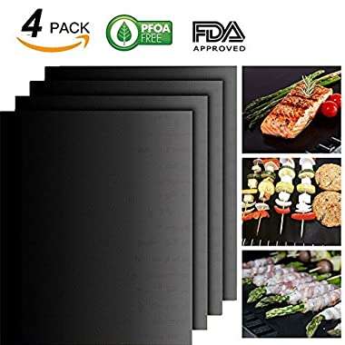 Jia Hui Lin BBQ Grill Mat Set of 4-100% Non-stick BBQ Grill Mats - FDA-Approved, PFOA Free, Reusable and Easy to Clean - Works on Gas, Charcoal, Electric Grill and More - 15.75 x 13 Inch (Black)