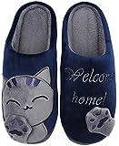 Mishansha Hombre Mujer Zapatillas de Casa para Invierno Otoño, con Forro de Felpa y Suela Dura, Cómodas/Blanditas/Mulliditas y Calentitas(048 Azul, 43/44 EU - Tamaño del Fabricante: 44/45 CN)