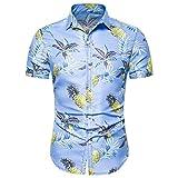 Camisas Hawaianas Hombre Manga Corta Camisas Estampadas Flores Camisa Delgada Suave Ligero Transpirable Personalidad Hombres Moda Verano Vacaciones Tops Streetwear Casual Shirt Playa Fiesta(H,L)
