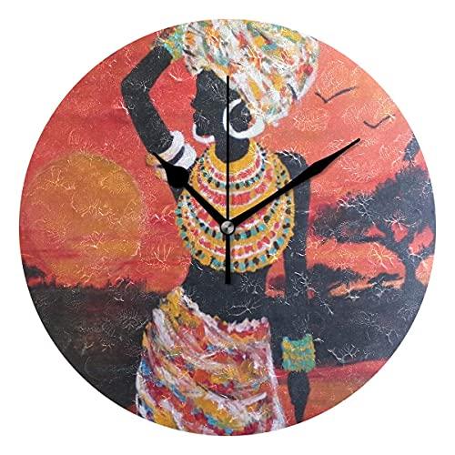 Mujer africana que lleva la textura del agua Novedad Arte decorativo redondo reloj de pared para niños sala de estar dormitorio cocina escuela oficina decoración