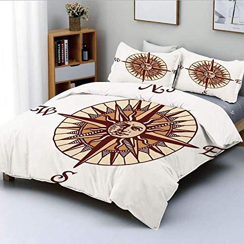 Juego de funda nórdica, diseño de rosa de los vientos con colores calmantes, la cara de la luna en el medio, arte decorativo, juego de ropa de cama de 3 piezas con 2 fundas de almohada, marfil, marrón