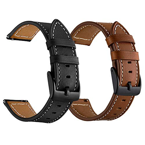 LDFAS Leather Band Compatible for Samsung Galaxy Watch 3 41mm/42mm Bands, Leather Quick Release 20mm Watch Strap Compatible for Samsung Galaxy Watch Active 2 40mm/44mm Smartwatch Brown+Black (2 Pack)