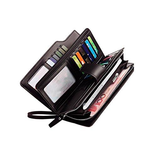 Freehorse Rfid Women's Wallets Ladies Clutch Leather Wristlet Card Phone Organizer Zipper Purse (Brown), Large