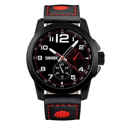 Reloj de cuarzo de negocios con correa de cuero, relojes de pulsera analógicos militares para hombres, relojes de moda de ocio al aire libre a prueba de agua, relojes con esfera de calendario