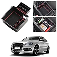 ボックス トレイとボックス収納ボックス ノンスリップマットアームレストプラスチック車ABSアームレスト収納ボックス AUDI Q5専用車 パーティション センターコンソール重ね
