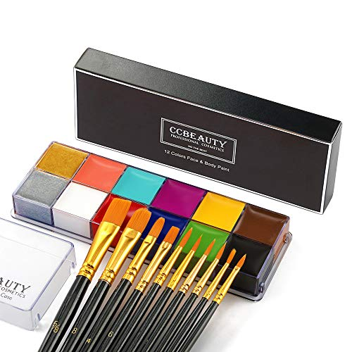 CCbeauty Professional Face Paint Oil 12 Colors Halloween Body Art Party Fancy Make Up Non Toxic Palette with 10 Black Brushes,Deep