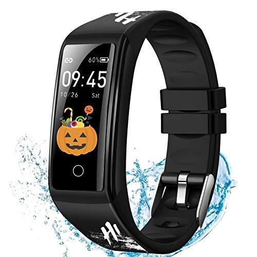 Montre Connectée Femmes Homme, Smartwatch Montre Sport Podometre Cardiofrequencemètre Montre Intelligente Etanche Moniteur de Sommeil Compteur de Calorie Bracelet Intelligent pour iPhone Android Nero