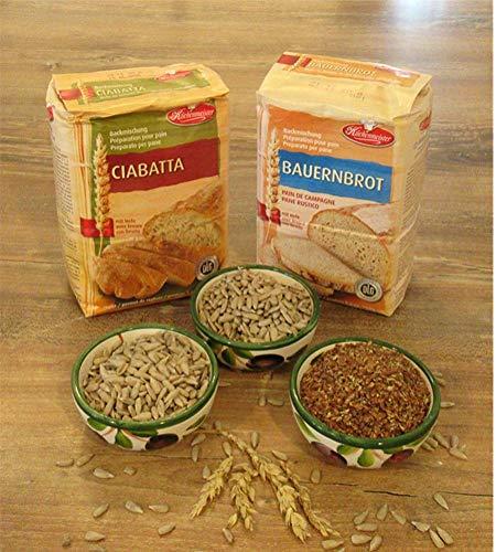 Leguana Handels GmbH 2-er Set Brotbackmischungen Ciabatta & Bauernbrot für insgesamt 4x750g Brot, incl. Bio-Sonnenblumenkörner & Leinsamen