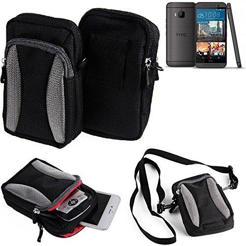 Für HTC One M9 (Prime Camera Edition) Gürteltasche Holster Umhängetasche Für HTC One M9 (Prime Camera Edition) Schwarz-grau + Extrafach Mit Platz Für Powerbank, Festplatte Etc. | Hülle Travelbag