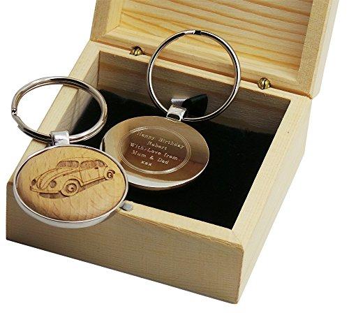 Kever Auto Sleutelhanger Gepersonaliseerde Gegraveerde Sleutel Houten Verzilverde Metalen Kunst Geschenken Sleutelhanger in Luxe Houten Kast