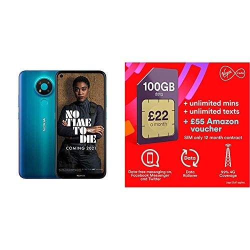 Nokia 3.4 6.39 Inch Android UK SIM-Free Smartphone with 3GB RAM and 32GB Storage (Dual SIM) - Fjord with Exertis Virgin Sim