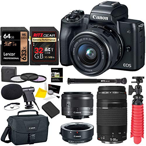 Canon EOS M50 Mirrorless Digital Camera with EF 75-300mm III, U3 Memory Card and Lens Bundle