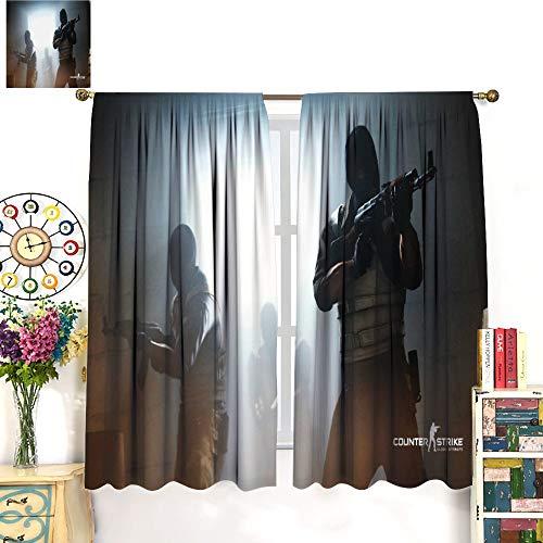Petpany Csgo - Global Offensive, policía y ladrón Match Ilustración, Key Art Lujosa decoración de cortina de 140 x 160 cm, aislamiento de ahorro de energía para comedor, dormitorio