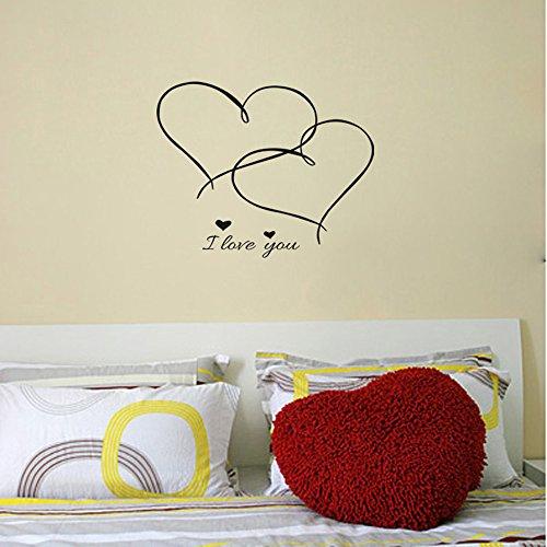 Adesivi Murali Camera Da Letto Matrimoniale I LOVE YOU Paio Romantico Cameretta Family Salotto Wall Stickers Rimovibile Impermeabile Carta Da Pareti Decorazione Murales,Mambain
