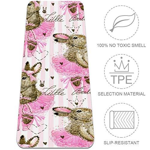 VFSS lindo conejo antideslizante, absorbe el sudor, supersuave, bolsillos de esquina, de microfibra antideslizante, ideal para yoga, bikram., color Multicolor 2, tamaño 32x72 in-80x183 cm