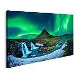 Bild auf Leinwand nordlicht Aurora Borealis kirkjufell