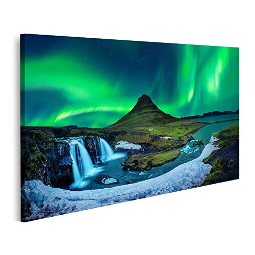 Cuadro en Lienzo Aurora Boreal Aurora Boreal kirkjufell montañas de Islandia kirkjufell Invierno Aurora Boreal Aurora Boreal Cuadros Modernos Decoracion Impresión Salon