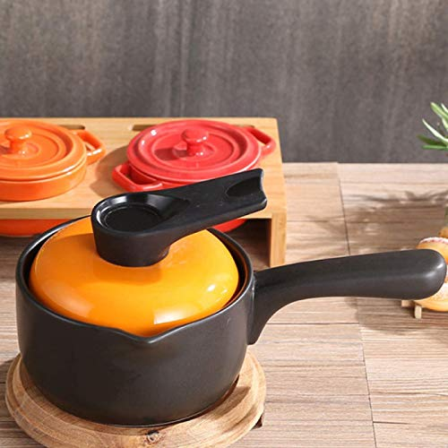 zyl Casserole Soup Pot Terracotta Stew Pot with Lid and Long Handle Casserole High Temperature Resistance for Cooking Yellow-1.3L