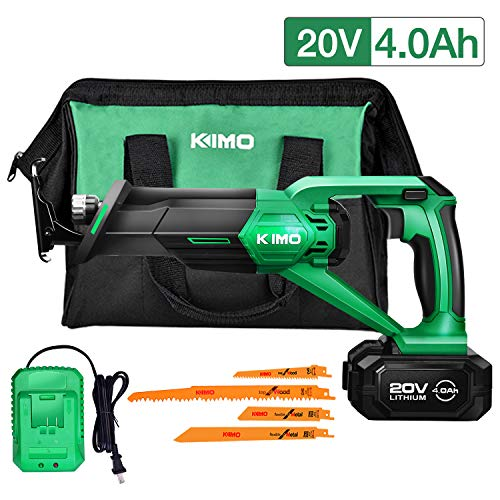 Cordless Reciprocating Saw – 20V 4.0Ah Compact Saw w/Li-Ion Battery & Charger, Variable Speed 0-3000 SPM, 3/4
