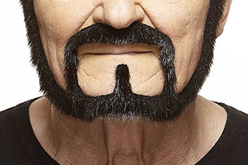 Mustaches Self Adhesive, Novelty, Squatter Fake Beard, False Facial Hair, Costume Accessory for Adults, Black Lustrous Color