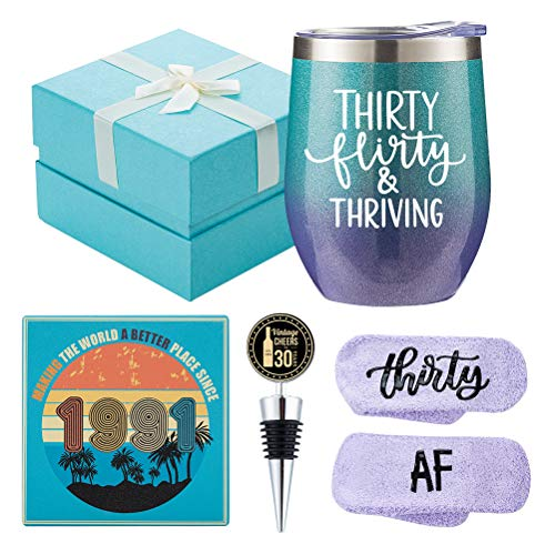 1991 30th Birthday Gifts for Women - Funny Wine Gift Set for 30th Birthday BFF, Best Friend, Sister, Girlfriend, Wife, Daughter - 30 Year Old Party Supplies Decorations for her