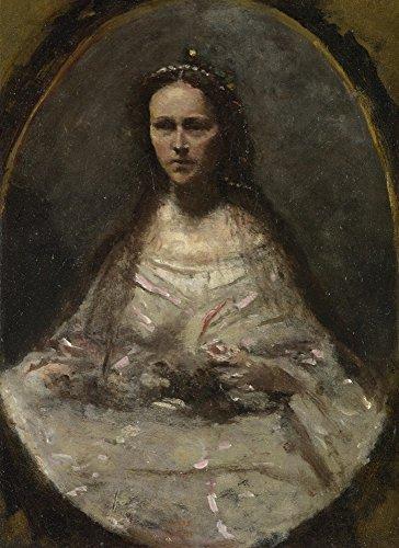 Het Museum Outlet - Jean-Baptiste-Camille Corot - Schets van een vrouw in Bruidsjurk, Stretched Canvas Gallery verpakt. 11,7 x 16,5 inch