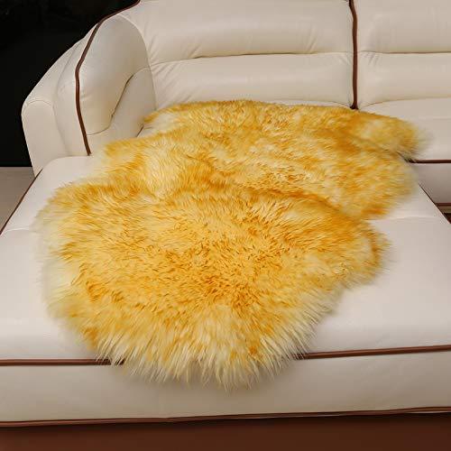 LOVE-CUSHION Weicher Flauschig Teppich,Moderner Flauschiger Rutschfester Teppich Für Schlafzimmer Wohnzimmer Kinderzimmer Mit Dekorativem Boden,11 Größen Rice Gold tip-2P [225 * 75cm]