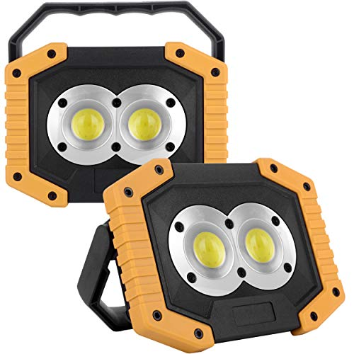 OTYTY COB 30W 1500LM LED Work Light 2 Pack, Rechargeable Portable Waterproof LED Flood Lights for Outdoor Camping Hiking Emergency Car Repairing and Job Site Lighting (W839 Yellow)