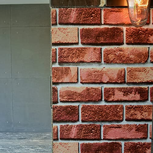 auxua Red Brick Wallpaper 17.7'x118' Peel and Stick Wallpaper Fireplace Wallpaper Vinyl Self Adhesive Contact Paper Rustic 3D Stone Stick On Waterproof for Backsplash Countertop Living Room Bedroom