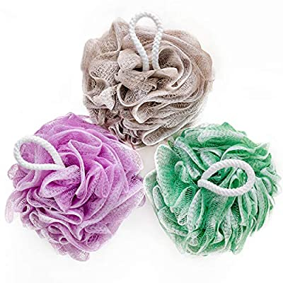 YINENN Bath Shower Sponge Loofahs XL (80g/pcs) Mesh Pouf Shower Ball, Nature Bamboo Charcoal Soft Body Scrubber Exfoliating for Silky Skin, Full Cleanse, Lather Pack of 3 Pastel Colors