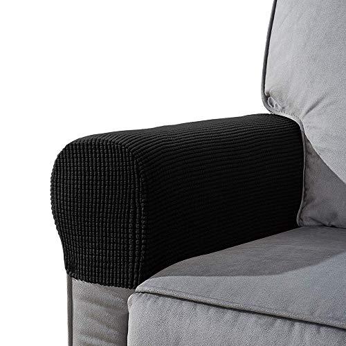 YuamMei Funda antideslizante para el estiramiento del apoyabrazos de spandex, sofá reposabrazos protector para sillón reclinable Sofá, juego de 2 (Negro)