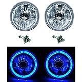OCTANE LIGHTING 5-3/4 Blue Led Halo Halogen Light Bulb H4 Headlight Angel Eye Crystal Clear Pair