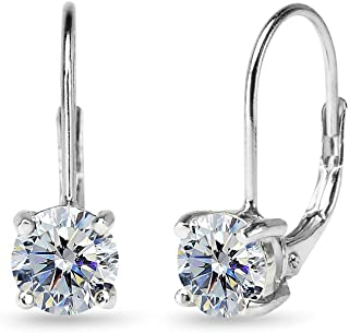 Sterling Silver 6mm Round-cut Classic Leverback Earrings Made with Swarovski Crystals