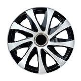 Tapacubos llantas negro blanco 15 Pulgadas (4 piezas) Drift de NRM, Tapacubos llantas ruedas