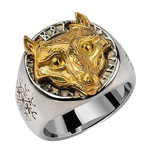 Anillo de Cabeza de Lobo Fenrir, Símbolo Vikingo de Acero Inoxidable para Hombre, Regalo de Joyería de Tótem Animal Nórdico Vegvisir,9