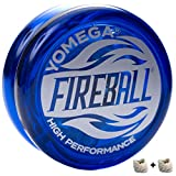 Yomega Fireball - Professional Responsive Transaxle Yoyo, Great for Kids and Beginners to Perform Like Pros + Extra 2 Strings & 3 Month Warranty (Colors May Vary)
