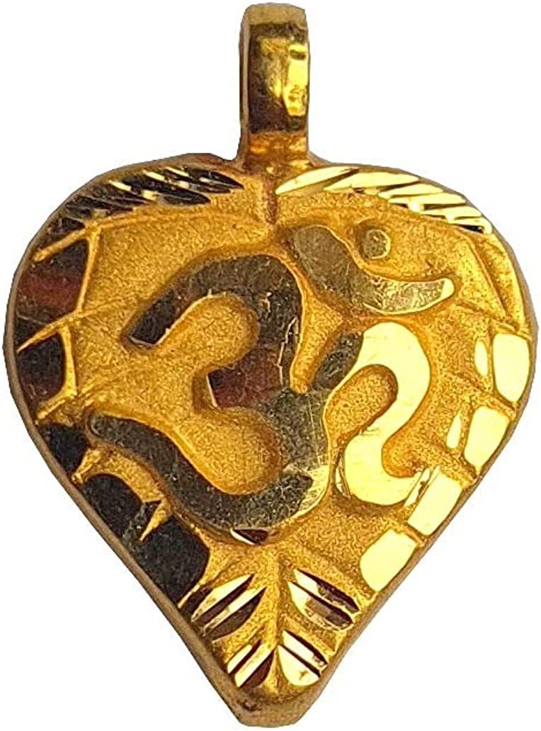 Certified Solid 22K/18K Yellow Fine Gold Heart Om Design Pendant Available In Both 22 Carat And 18 Carat Fine Gold,For Women,Girls,Kids,Mens,Boys,Childrens,For Gift,Wedding,Regular Wear