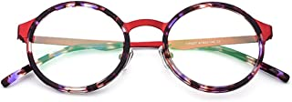 LUKEEXIN Exquisite Lightweight Women's Simple Glasses Full Frame Business Glasses Frame Eyeglasses with Clear Lens (Color : Red)