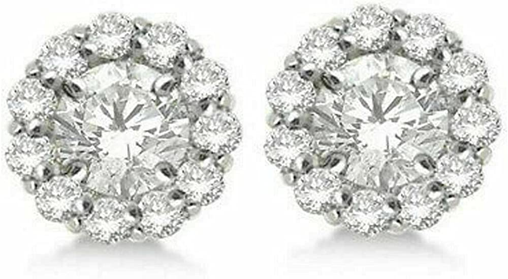 Round Diamond Earring Jackets For 8mm Studs 14K White Gold Plated(1.00ct)