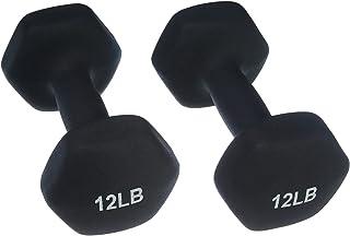 AmazonBasics 12 Pound Neoprene Dumbbells Weights - Set of 2, Black