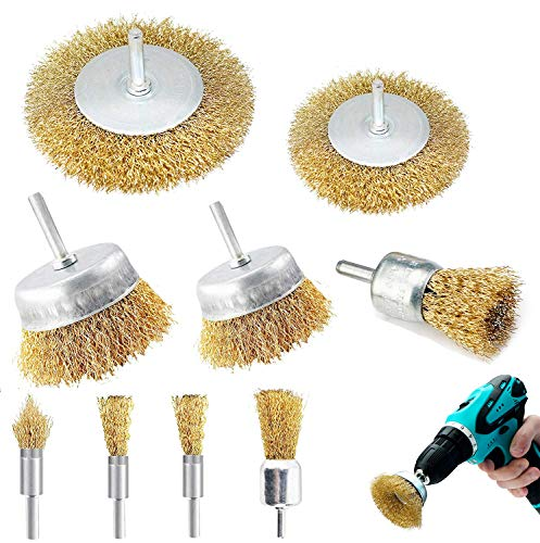 9PCS Brass Coated Wire Brush Wheel & Cup Brush Set, Multi Sizes Wire Brushes Drill Bit Set with 1/4-Inch Shank Brush Kit for Removal Rust/Corrosion/Paint