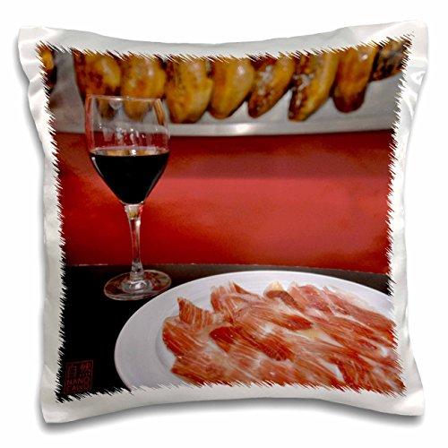 3drose Nano Calvo Ibiza–Spanisch Schinken (Jamon Serrano) und Tasse Rot Wein–Kissen Fall, Satin, weiß, 41 x 41 cm