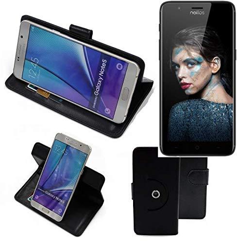 K-S-Trade® Case Schutz Hülle Für -TP-LINK Neffos N1- Handyhülle Flipcase Smartphone Cover Handy Schutz Tasche Bookstyle Walletcase Schwarz (1x)