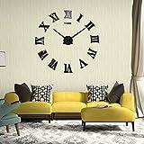 S'Beauty Large 3D DIY Wall Clock Roman Numerals Clock for Home Decor Living Room Bedroom (Black)