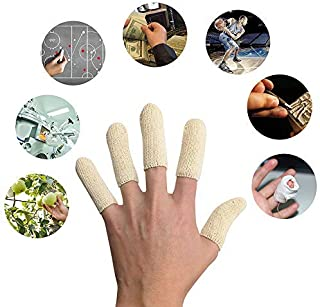 EvridWear Premium Cotton Comfort Cushion Finger Toe Thumb Cot Sleeves Protect Fingertips Hand Eczema Skin Cracking Calluses Wicks Moisture Jewelry Clean Smudges (20PCS) (Short Length)