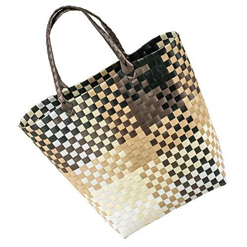 LaFiore24 Grosse original Shopper Einkaufstasche Einkaufskorb Bade-Strandtasche abwaschbar 42x16 H.40/60cm braun-Multi