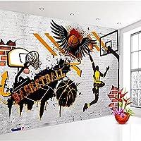 カスタム装飾壁画 カスタム3D自己粘着壁紙バスケットボールポスター写真寝室の背景防水紙