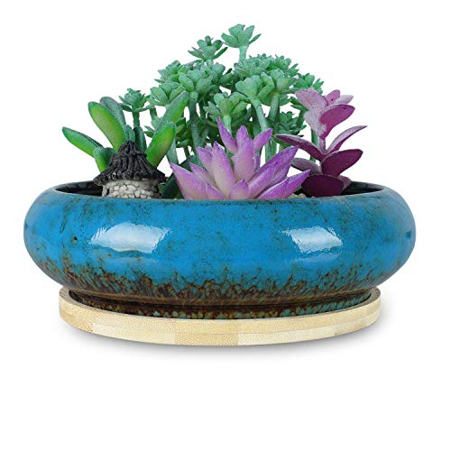 ARTKETTY 7.3 inch Round Succulent Planter Pots with Drainage Hole Ceramic Bonsai Pots Garden Decorative Cactus Stand Modern Glazed Flower Container Bowl Blue, with Bamboo Tray