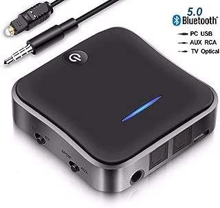 2 合 1 蓝牙 5.0 发射器接收器适配器 AptX 低延迟蓝牙音频发射器适用于电视 PC(光学数字 Toslink、3.5mm Aux、RCA、PC USB)32 英尺范围,双链接,无音频延迟