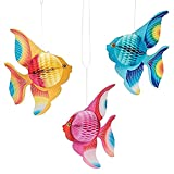 STOBOK Papel tisú Plegable decoración de Peces Tropicales Colgando Adornos Fuentes Fiesta 6 unids (Oro + Rosa + Azul)